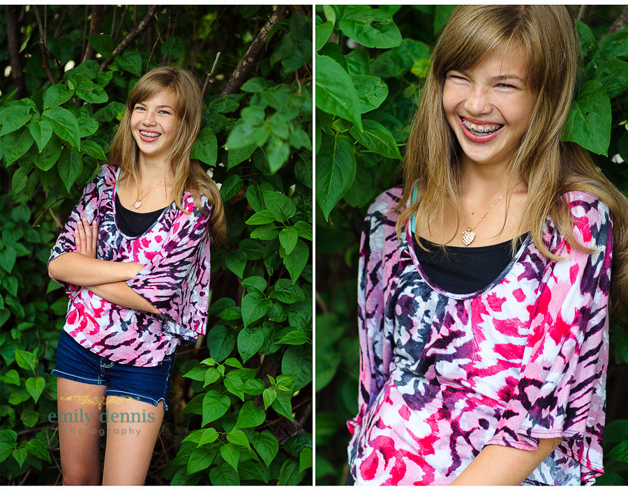 Teen portrait session in backyard